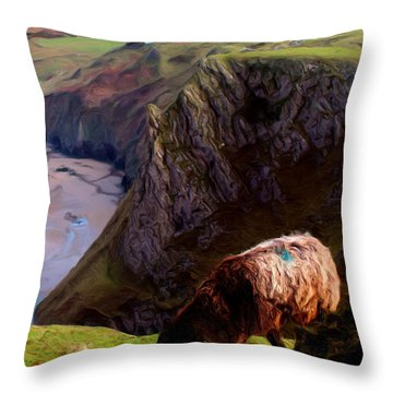 Throw Pillow featuring the digital art High Table by Ron Harpham
