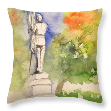 Highland Cemetery-plein Air-ypsilanti Michigan 1 Throw Pillow by Yoshiko Mishina