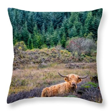 Highland Cow Throw Pillow by Adrian Evans