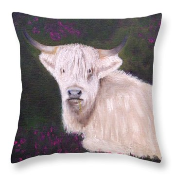 Highland Cow In The Heather Throw Pillow
