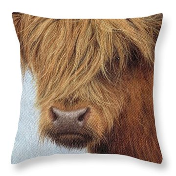 Highland Cow Painting Throw Pillow by Rachel Stribbling