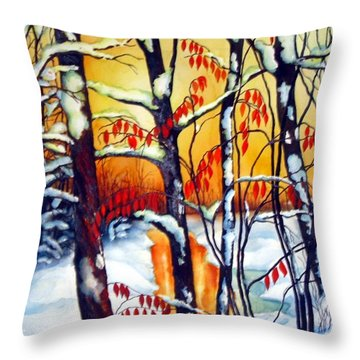 Throw Pillow featuring the painting Highland Creek Sunset 2  by Inese Poga