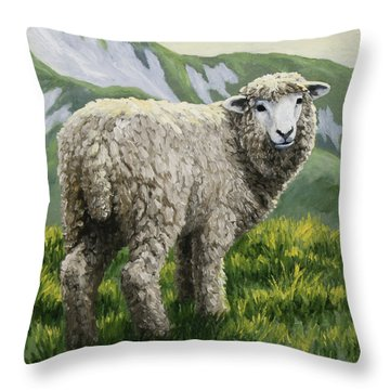 Highland Ewe Throw Pillow by Crista Forest