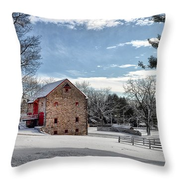 Highland Farms In The Snow Throw Pillow by Bill Cannon