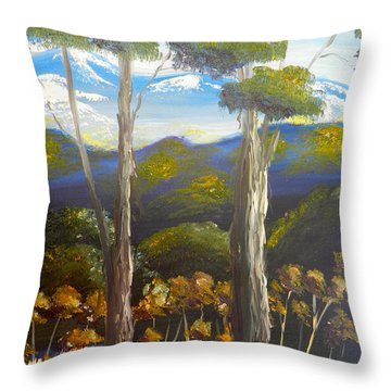 Highlands Gum Trees Throw Pillow by Pamela  Meredith