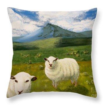 Highlands Sheep Throw Pillow by Tim Townsend
