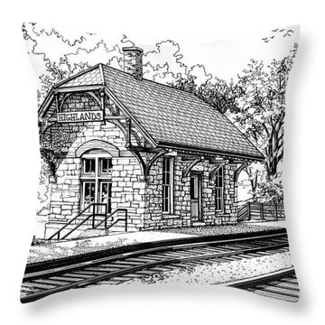 Highlands Train Station Throw Pillow