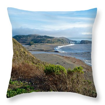 Highway 1 Near Outlet Of Russian River Into Pacific Ocean Near Jenner-ca  Throw Pillow