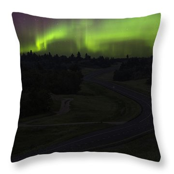 Highway Through Aurora Throw Pillow