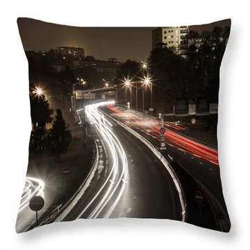 Throw Pillow featuring the photograph Highway's Lights by Stwayne Keubrick