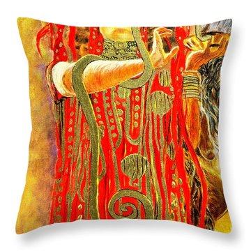 Higieja-according To Gustaw Klimt Throw Pillow by Henryk Gorecki