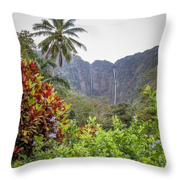 Hiilawe And Hakalaoa Falls Throw Pillow by Denise Bird
