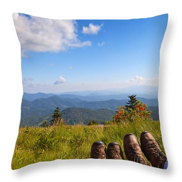 Hikers With A View On Round Bald Near Roan Mountain Throw Pillow