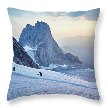 Hiking Around A Crevice Of West Ridge Throw Pillow