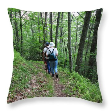 Hiking Group Throw Pillow by Melinda Fawver