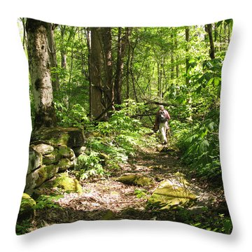 Hiking Off Trail Throw Pillow by Melinda Fawver
