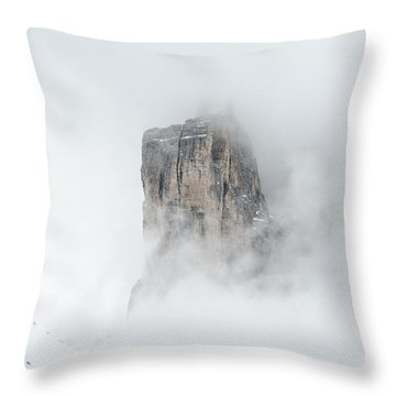 Hiking The Tre Cime In Winter Throw Pillow