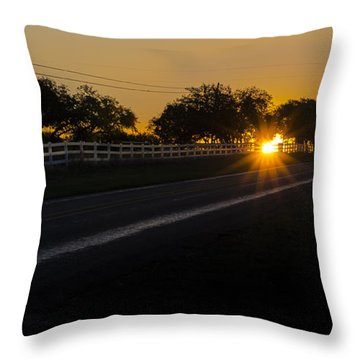 Hill Country Sunrise 2 Throw Pillow by Debbie Karnes