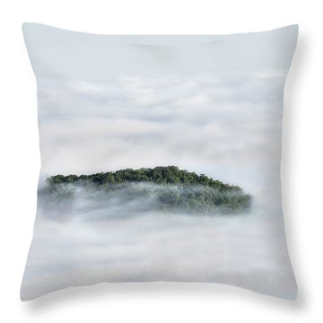 Hill Top Island In The Clouds Throw Pillow by Dan Friend