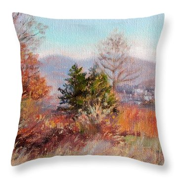 Hill Top View- In Autumn Throw Pillow
