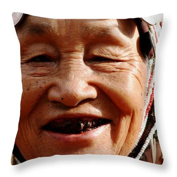Hill Tribe Smile Throw Pillow by Nola Lee Kelsey