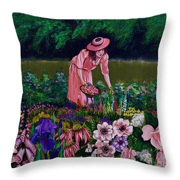 Hillary's Garden Throw Pillow by Linda Simon