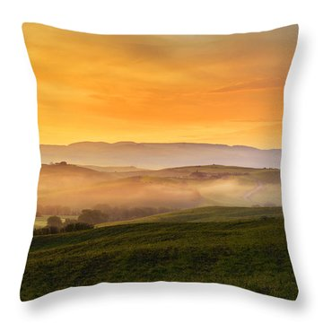 Hills And Fog Throw Pillow by Yuri Santin
