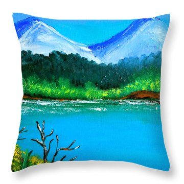 Hills By The Lake Throw Pillow