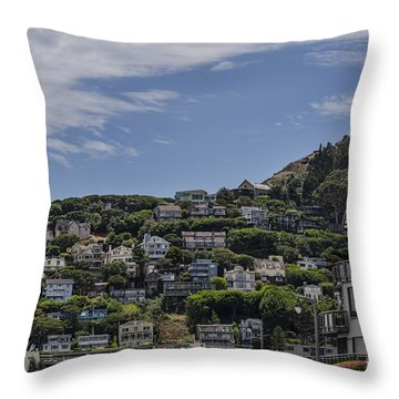 Hills Of Salsalito Throw Pillow by Judy Wolinsky