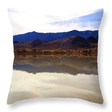 Throw Pillow featuring the photograph Hills Reflection In Diaz Lake  by Viktor Savchenko