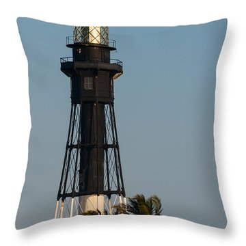 Hillsboro Inlet Lighthouse In The Evening Throw Pillow