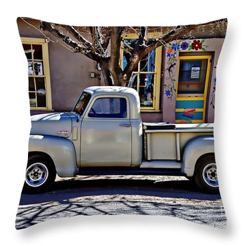 Throw Pillow featuring the painting Hillsboro New Mexico 1949 Gmc 100 by Barbara Chichester