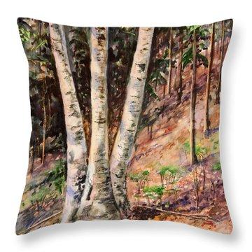 Hillside Birch Throw Pillow by Kristine Plum