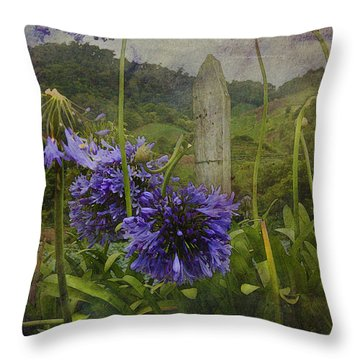 Hillside Flowers Throw Pillow by Kandy Hurley