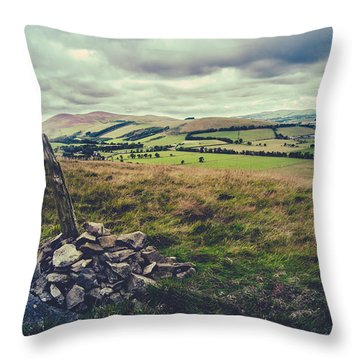 Hilltop Cairn Scotland Landscape Throw Pillow