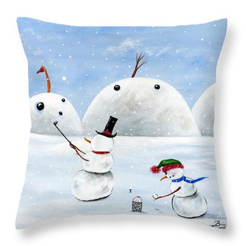 Hilly Hole In One Throw Pillow by Brianna Mulvale