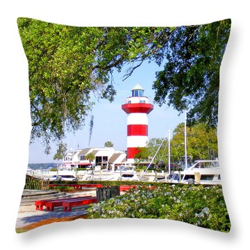 Hilton Head Lighthouse And Marina Throw Pillow
