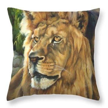 Him - Lion Throw Pillow by Lori Brackett