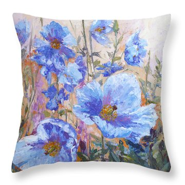 Himalayan Blue Poppies Throw Pillow by Karen Mattson