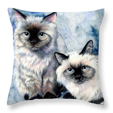 Himalayan Duo Throw Pillow by Sherry Shipley