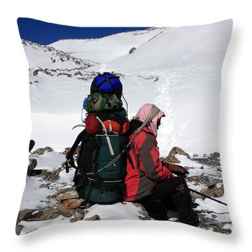 Himalayan Porter, Nepal Throw Pillow