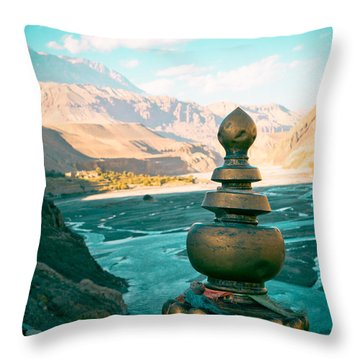 Himalayas Road To Upper Mustang  From Kagbeni Throw Pillow