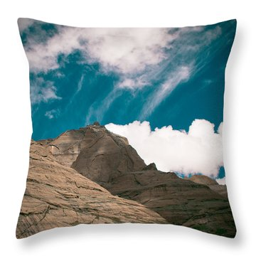 Himalyas Mountains In Tibet With Clouds Throw Pillow