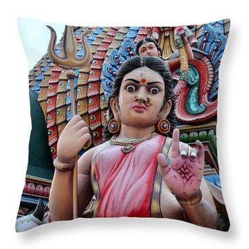 Hindu Goddess At Colorful Temple Throw Pillow by Imran Ahmed