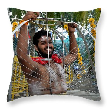 Throw Pillow featuring the photograph Hindu Thaipusam Festival Pierced Devotee  by Imran Ahmed
