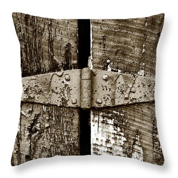 Throw Pillow featuring the photograph Hinge by Heather Kenward