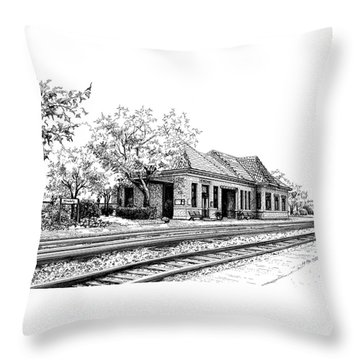 Hinsdale Train Station Throw Pillow