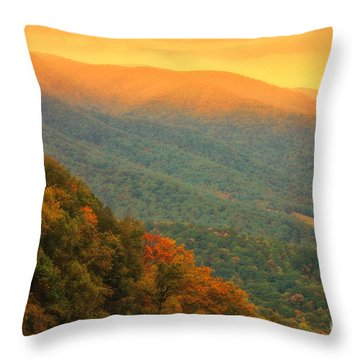 Throw Pillow featuring the photograph Hint Of Orange On The Blue Ridge Parkway by Ola Allen