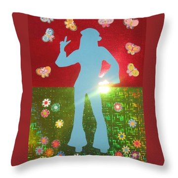 Hippie Girl Throw Pillow