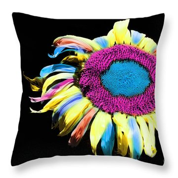 Hippie Sunflower Rainbow Painterly Throw Pillow by Andee Design